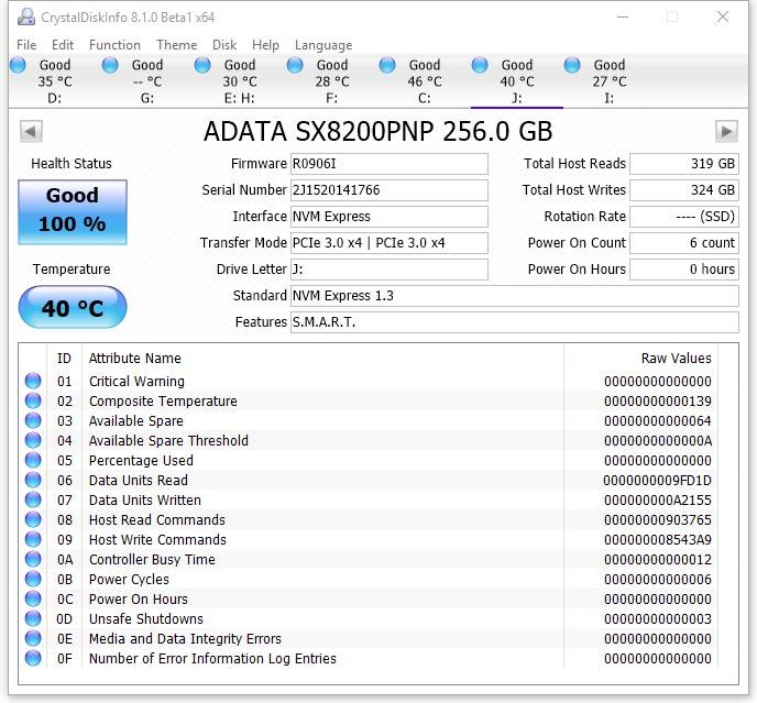 ADATA XPG SX8200 Pro (ASX8200PNP-256GT-C)