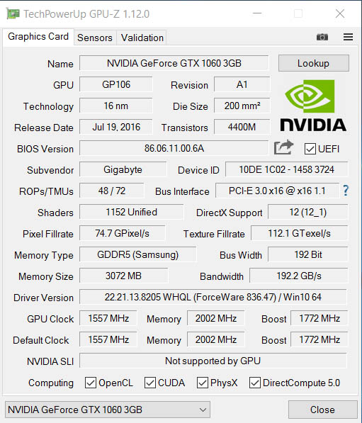NVIDIA GeForce GTX 1060 (GP106-400-A1)