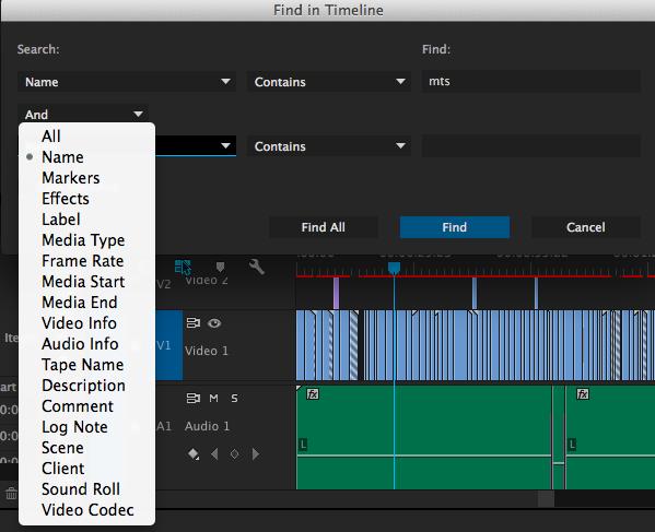 Find in Timeline в Adobe Premiere Pro CC 8.1