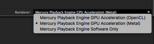 Mercury Playback Engine GPU Acceleration (Metal)